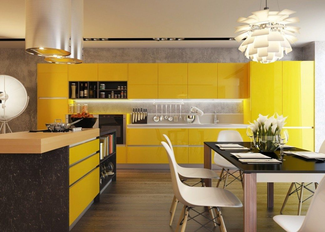 black-and-yellow-kitchen