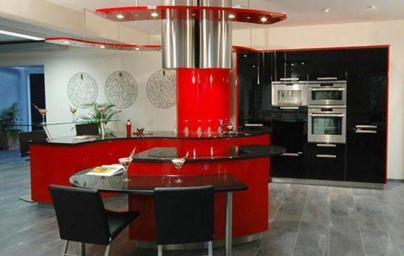 Sarkana krāsa virtuvē - pikants interjera risinājums 5