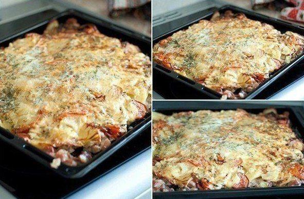 Fantastiska ideja pusdienām - kakla karbonāde rīvētu kartupeļu un siera kažokā