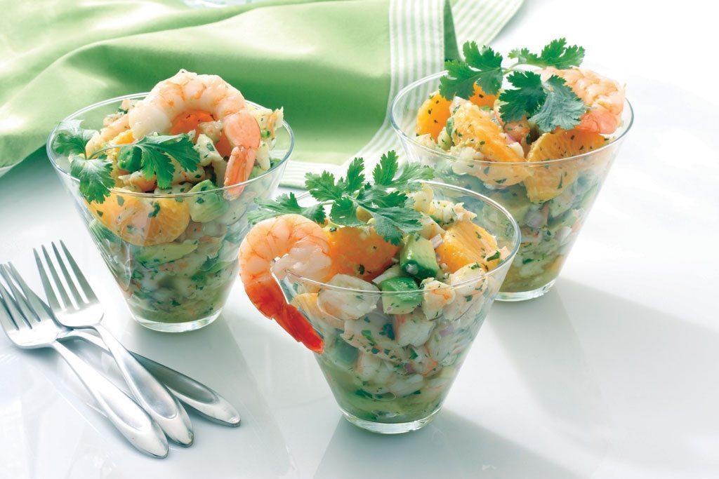 Diētiskie avokado salāti ar garnelēm, tikai 125 kilokalorijas uz 100 g