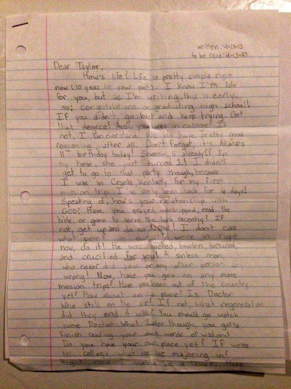 Vēstule, kuru vecāki atrada pēc meitas nāves, pārsteidza daudzus 7
