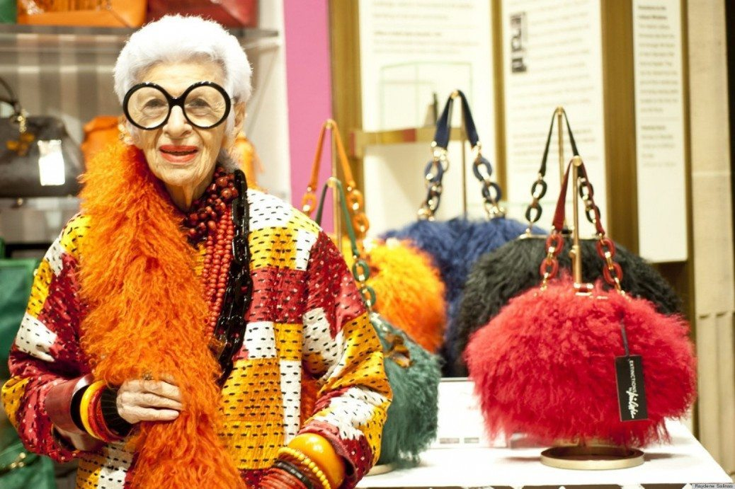 Iris Apfel shows her handbag collection, Extinction, at Henri Bendel on 5th Avenue and 55th Street in Manhattan on Friday, October 12, 2012.