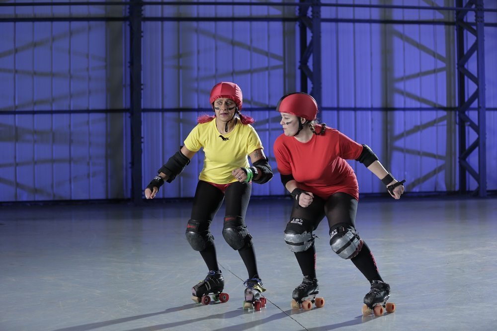 ESSEX, U.K. - The red skater is trying to block the yellow skater. (Photo Credit: National Geographic Channels/Nick Marwick)