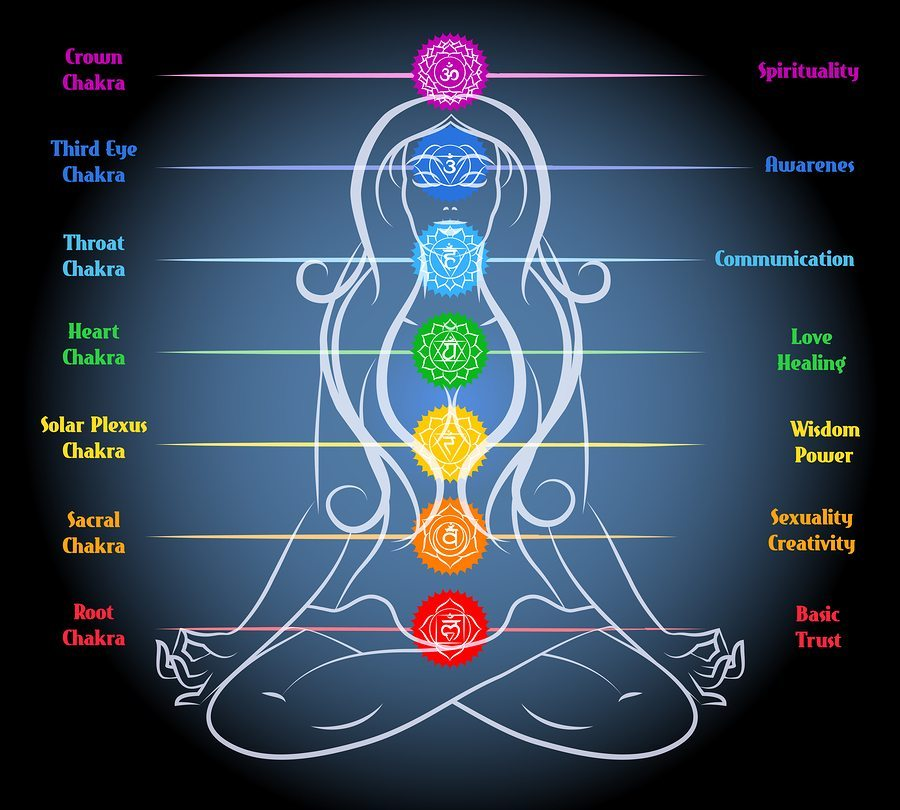 Foto: Woman yoga meditation with chakras. Heart and sacral, root and sexuality and wisdom. Vector illustration